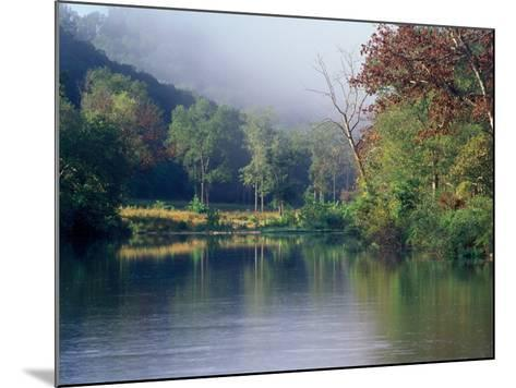 Morning Fog on River, Missouri, USA-Gayle Harper-Mounted Photographic Print
