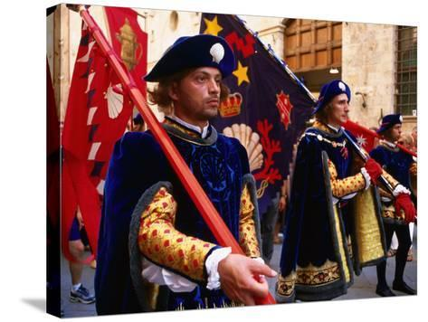 Men in Costume, Il Palio Parade, Siena, Italy-Dallas Stribley-Stretched Canvas Print