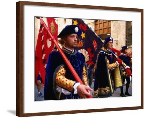 Men in Costume, Il Palio Parade, Siena, Italy-Dallas Stribley-Framed Art Print