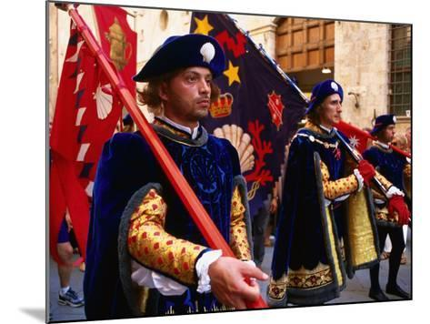 Men in Costume, Il Palio Parade, Siena, Italy-Dallas Stribley-Mounted Photographic Print