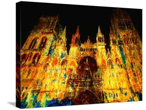 Light Show Projected on Rouen Cathedral, Rouen, France-John Banagan-Stretched Canvas Print