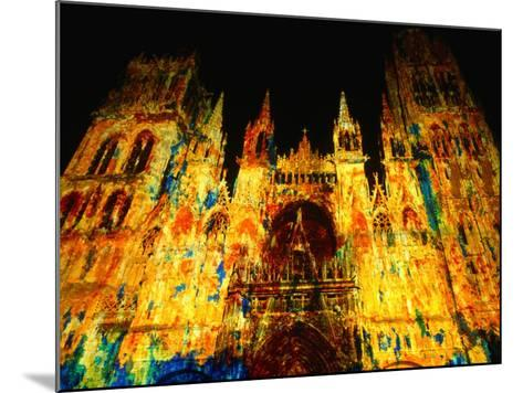 Light Show Projected on Rouen Cathedral, Rouen, France-John Banagan-Mounted Photographic Print