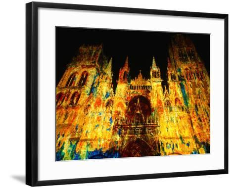 Light Show Projected on Rouen Cathedral, Rouen, France-John Banagan-Framed Art Print