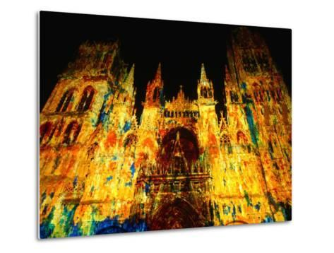 Light Show Projected on Rouen Cathedral, Rouen, France-John Banagan-Metal Print