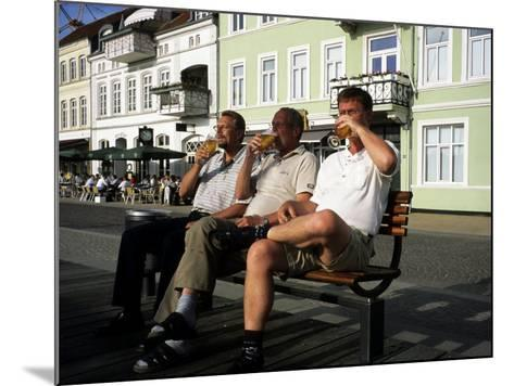 Beer Drinkers Sitting on a Bench, Sonderborg, Denmark-Holger Leue-Mounted Photographic Print