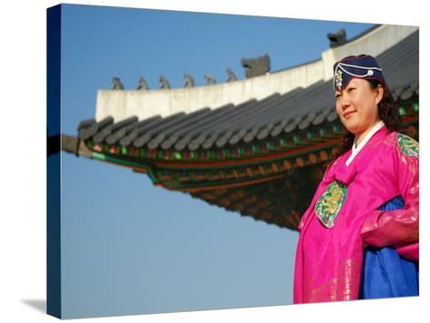 Gyeongbokgung Palace, Woman in Traditional Hanbok Dress, Gwanghwamun, Seoul, South Korea-Anthony Plummer-Stretched Canvas Print