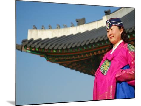 Gyeongbokgung Palace, Woman in Traditional Hanbok Dress, Gwanghwamun, Seoul, South Korea-Anthony Plummer-Mounted Photographic Print