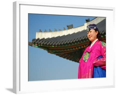 Gyeongbokgung Palace, Woman in Traditional Hanbok Dress, Gwanghwamun, Seoul, South Korea-Anthony Plummer-Framed Art Print