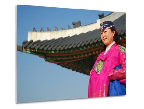 Gyeongbokgung Palace, Woman in Traditional Hanbok Dress, Gwanghwamun, Seoul, South Korea-Anthony Plummer-Metal Print