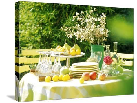 Table with Tablecloth Set-Martine Mouchy-Stretched Canvas Print