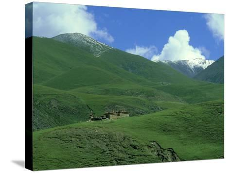 Mountain Monastery, Tibet-Michael Brooke-Stretched Canvas Print