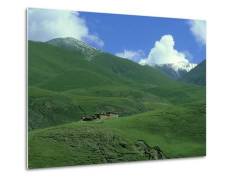 Mountain Monastery, Tibet-Michael Brooke-Metal Print