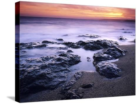 Sunset at Mullion in Cornwall, UK-David Clapp-Stretched Canvas Print