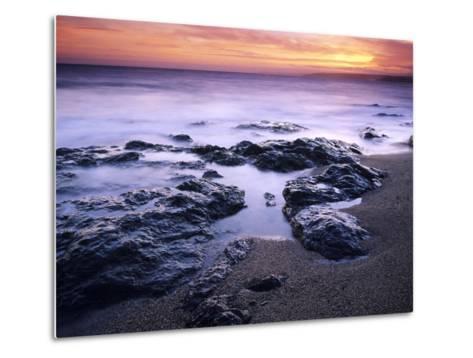 Sunset at Mullion in Cornwall, UK-David Clapp-Metal Print