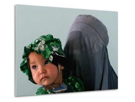 An Afghan Mother Waits with Her Daughter Before Attending Medical Care--Metal Print