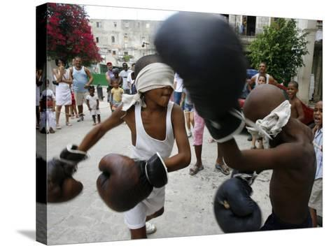 Two Cuban Boys Show Their Boxing Skills--Stretched Canvas Print