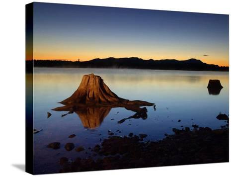 The First Light of Dawn Silhouettes the Katahdin Range East of Chesuncook Lake--Stretched Canvas Print