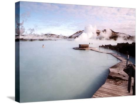 People Swim in the Blue Lagoon Spa in Grindavik, Iceland--Stretched Canvas Print