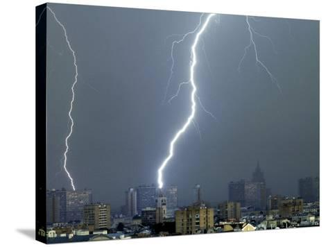 Lightning Strikes in Moscow During a Violent Rain Storm--Stretched Canvas Print