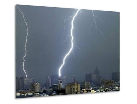 Lightning Strikes in Moscow During a Violent Rain Storm--Metal Print