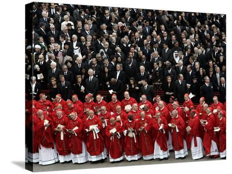 Cardinals, in Red, Participate in the Funeral Mass for Pope John Paul II--Stretched Canvas Print