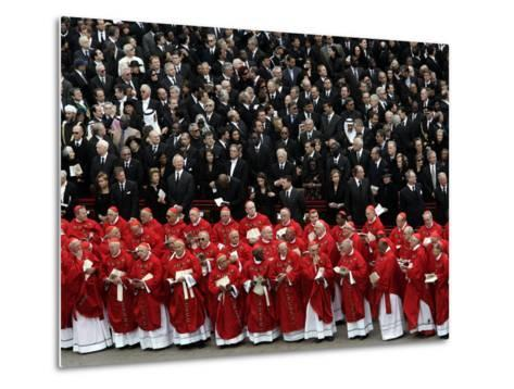 Cardinals, in Red, Participate in the Funeral Mass for Pope John Paul II--Metal Print