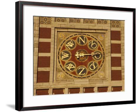 Central Station Wind Scale on Red Brick Tower, Amsterdam, Netherlands-Michele Molinari-Framed Art Print