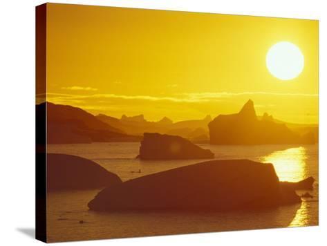 Sunset on Icebergs in the Bismark Strait, Petermann Island, Alaska, USA-Hugh Rose-Stretched Canvas Print