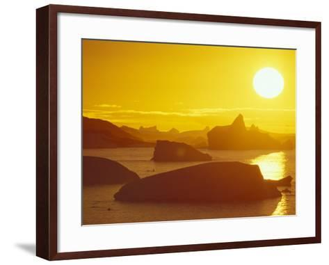 Sunset on Icebergs in the Bismark Strait, Petermann Island, Alaska, USA-Hugh Rose-Framed Art Print