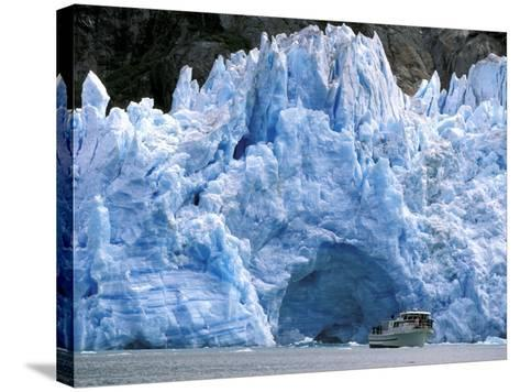 Fords Terror Wilderness Iceberg and Waterfall in Fjord, Tracy Arm, Inside Passage, Alaska, USA-Paul Souders-Stretched Canvas Print