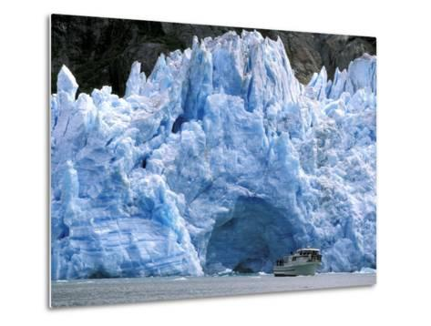 Fords Terror Wilderness Iceberg and Waterfall in Fjord, Tracy Arm, Inside Passage, Alaska, USA-Paul Souders-Metal Print