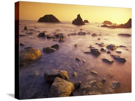 Sunset along Crescent Beach, California, USA-Darrell Gulin-Stretched Canvas Print
