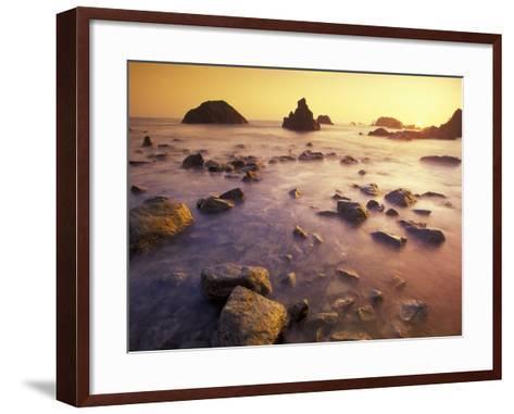 Sunset along Crescent Beach, California, USA-Darrell Gulin-Framed Art Print