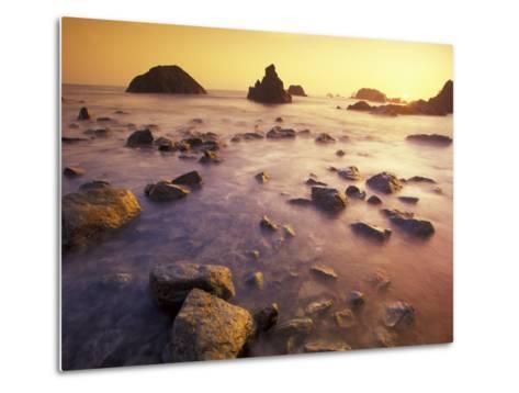 Sunset along Crescent Beach, California, USA-Darrell Gulin-Metal Print