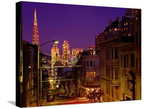 Downtown at Dusk, San Francisco, U.S.A.-Thomas Winz-Stretched Canvas Print