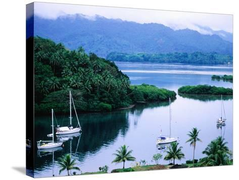 Overhead of Yachts in Savu Bay, Fiji-Peter Hendrie-Stretched Canvas Print