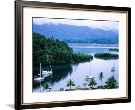Overhead of Yachts in Savu Bay, Fiji-Peter Hendrie-Framed Art Print