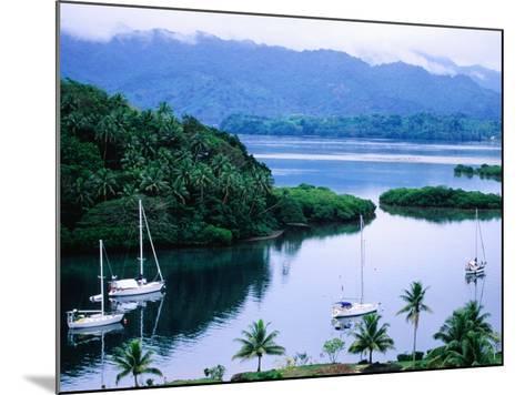 Overhead of Yachts in Savu Bay, Fiji-Peter Hendrie-Mounted Photographic Print