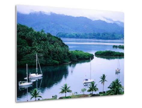Overhead of Yachts in Savu Bay, Fiji-Peter Hendrie-Metal Print