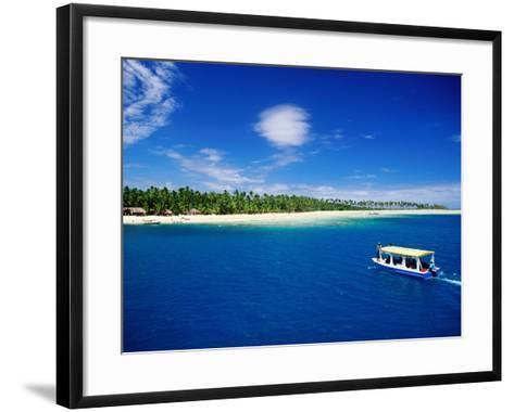 Boat in Lagoon, Plantation Island Resort, Fiji-Peter Hendrie-Framed Art Print
