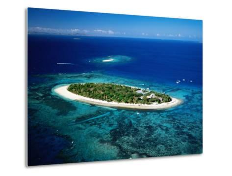 Aerial of Treasure Island, Fiji-Peter Hendrie-Metal Print