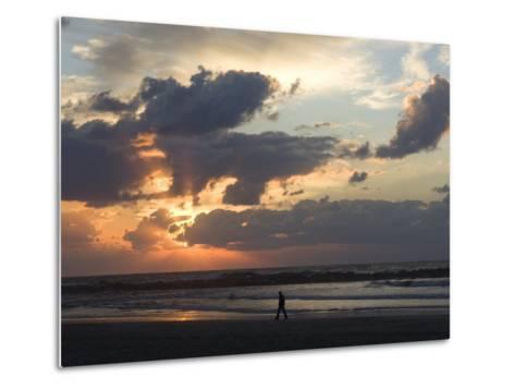 Israel, Man Walking on Beach, Tel Aviv, Israel-Keenpress-Metal Print