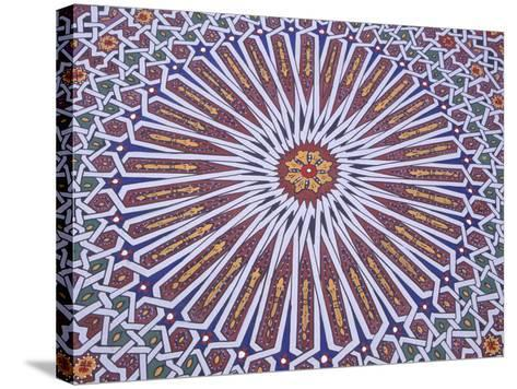 Colorful Geometric Pattern on Hand-painted Table, Morocco-John & Lisa Merrill-Stretched Canvas Print