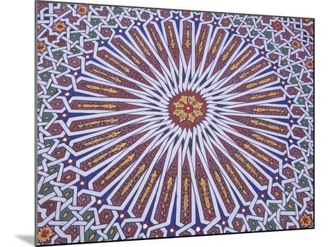 Colorful Geometric Pattern on Hand-painted Table, Morocco-John & Lisa Merrill-Mounted Photographic Print