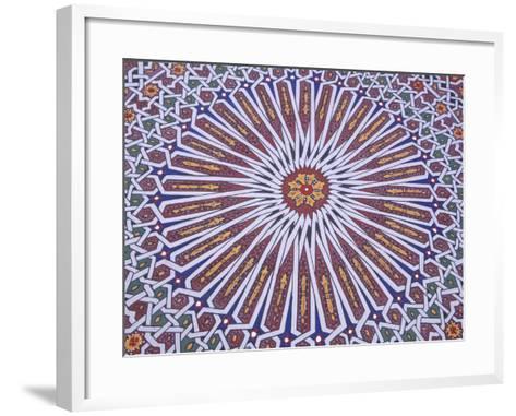 Colorful Geometric Pattern on Hand-painted Table, Morocco-John & Lisa Merrill-Framed Art Print