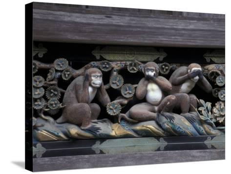 Monkey Carving, Nikko Toshogu Shrine, Japan-Rob Tilley-Stretched Canvas Print