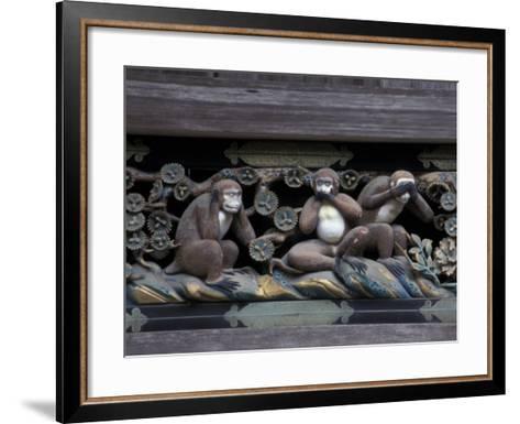 Monkey Carving, Nikko Toshogu Shrine, Japan-Rob Tilley-Framed Art Print