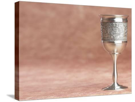 Elegant Silver Shabbat Cup with Hebrew Engraving--Stretched Canvas Print