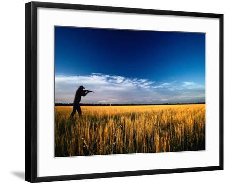 Mallee Farmer, Quail Shooting in Wheat Stubble - Mallee, Victoria, Australia-John Hay-Framed Art Print