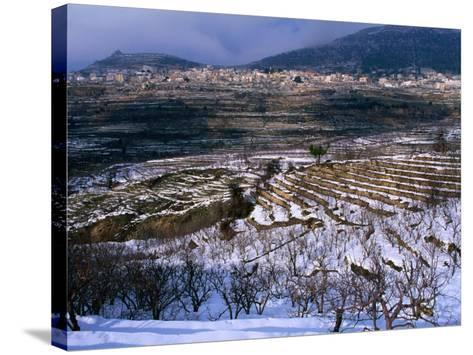 Snow Covered Fields and Village in the Qadisha Valley, Bcharre, Lebanon-Mark Daffey-Stretched Canvas Print